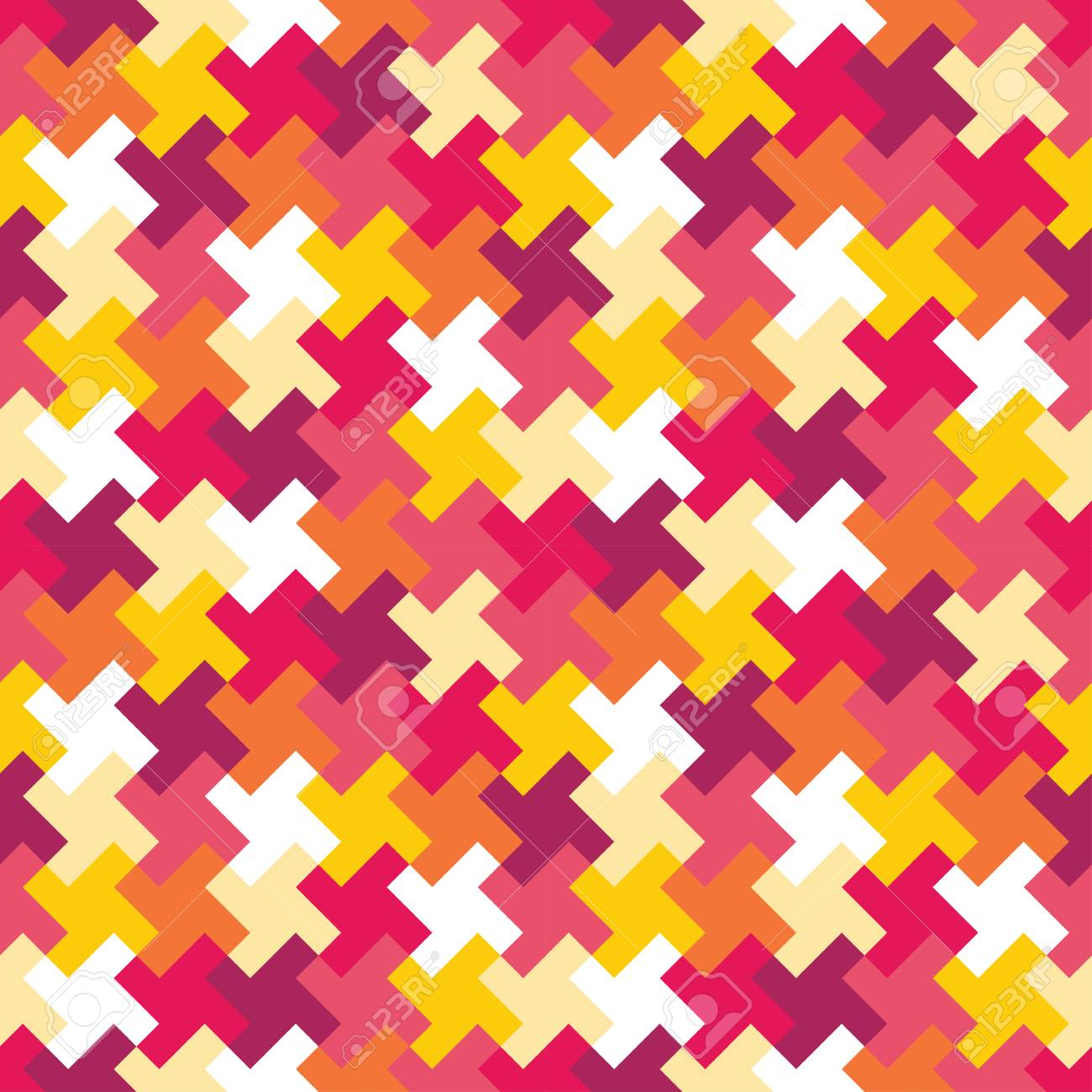 Vector modern seamless colorful geometry puzzle pattern, color abstract geometric background, pillow multicolored print, retro texture, hipster fashion design - 49761206