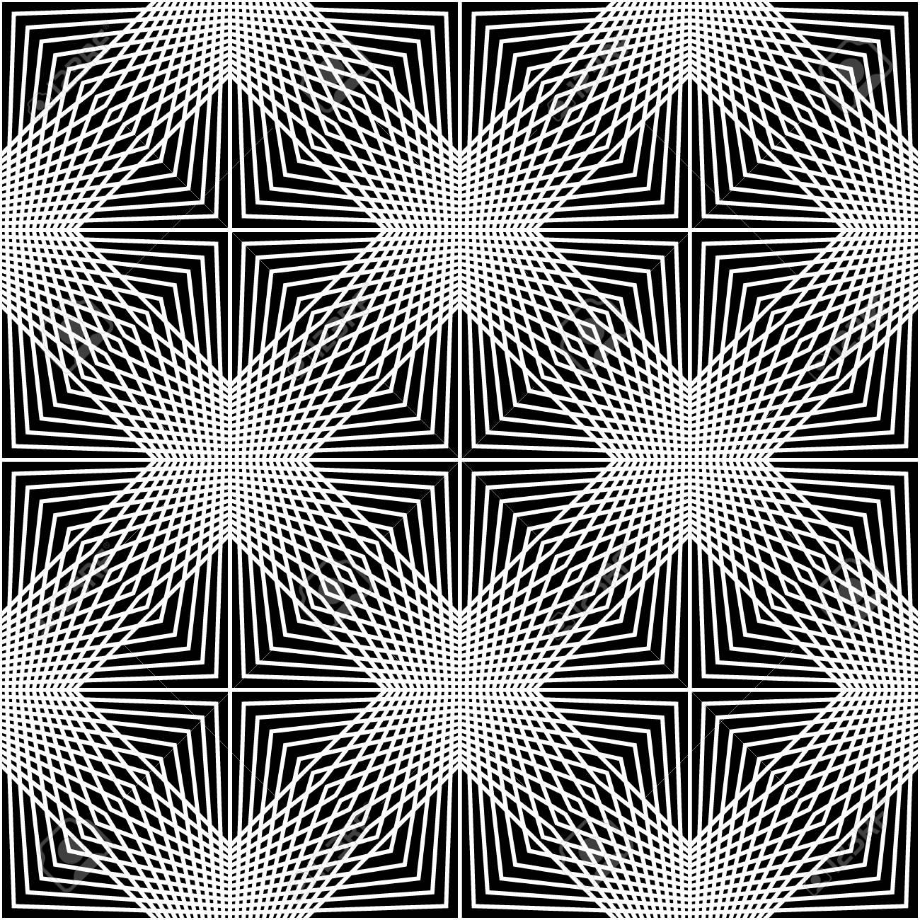 Dessin Au Trait Moderne Géométrie Transparente Motif Au Trait Fond Géométrique Abstrait Noir Et Blanc Impression Doreiller Texture Rétro