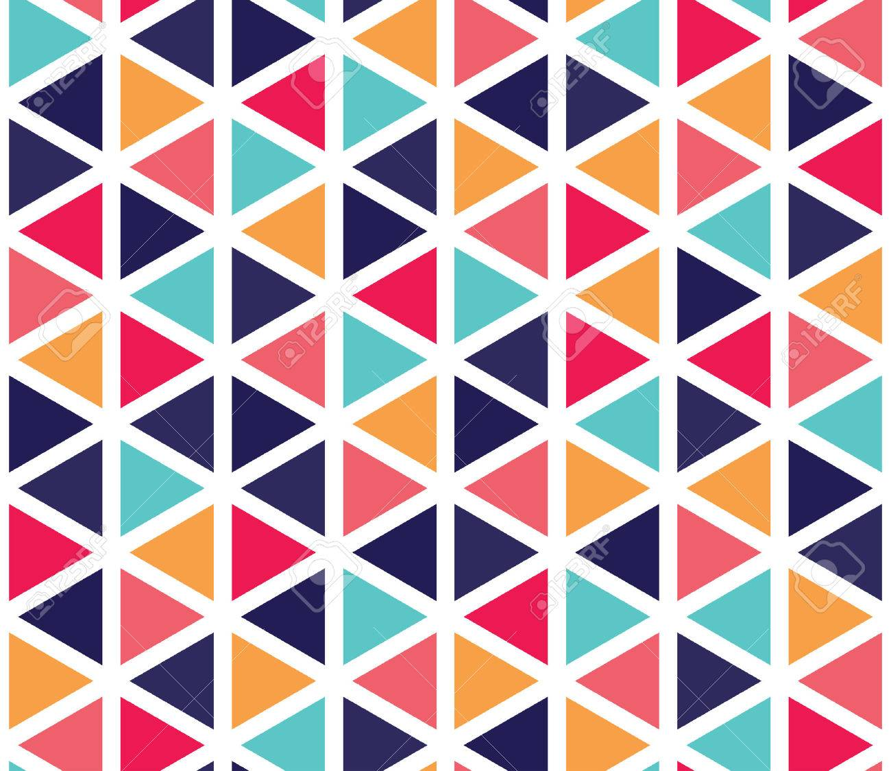 Vector modern seamless colorful geometry triangle pattern, color abstract geometric background, pillow multicolored print, retro texture, hipster fashion design - 53414465