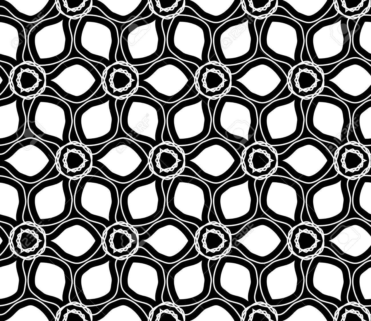 Vector Modern Seamless Geometry Drawed Floral Pattern Black