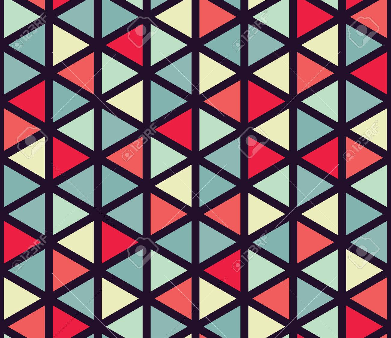 Vector modern seamless colorful geometry triangle pattern, color abstract geometric background, pillow multicolored print, retro texture, hipster fashion design - 53936962