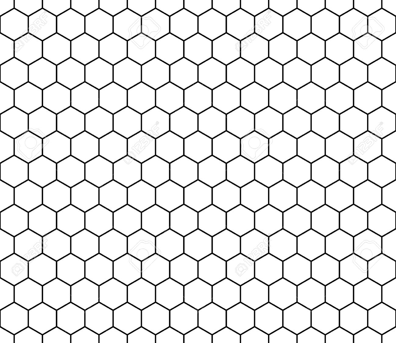 Vector modern seamless geometry pattern hexagon, black and white honeycomb abstract geometric background, subtle pillow print, monochrome retro texture, hipster fashion design - 54180368