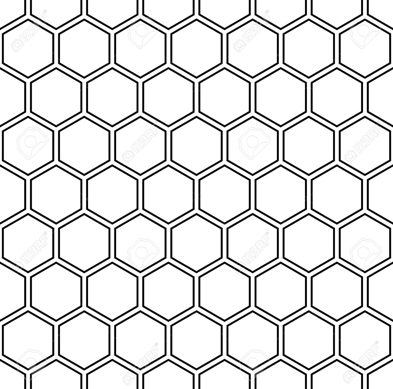Vector modern seamless geometry pattern hexagon, black and white honeycomb abstract geometric background, subtle pillow print, monochrome retro texture, hipster fashion design - 54907010