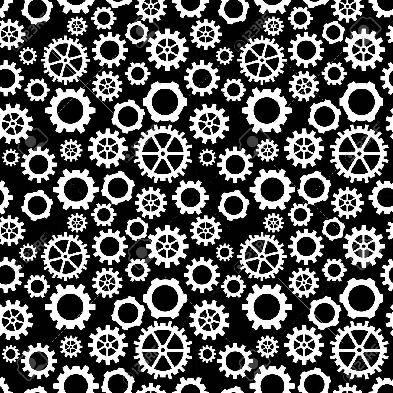Photo Noir Et Blanc Design motif géométrique abstrait engrenage noir et blanc design graphique roue  dentée