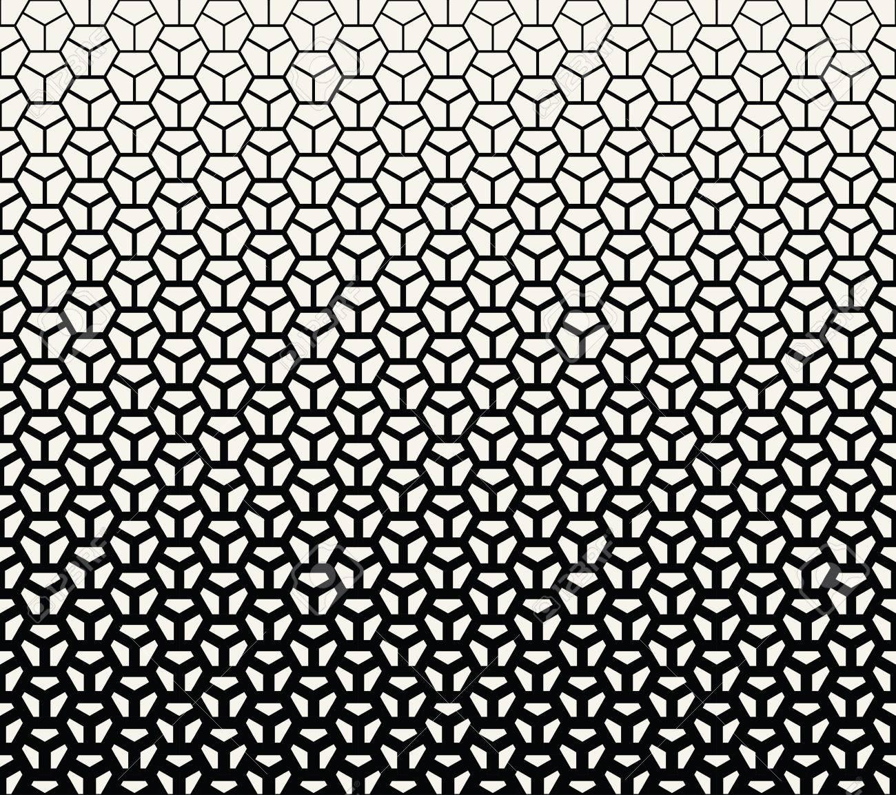 geometric halftone gradient pentagon seamless vector pattern - 77783715