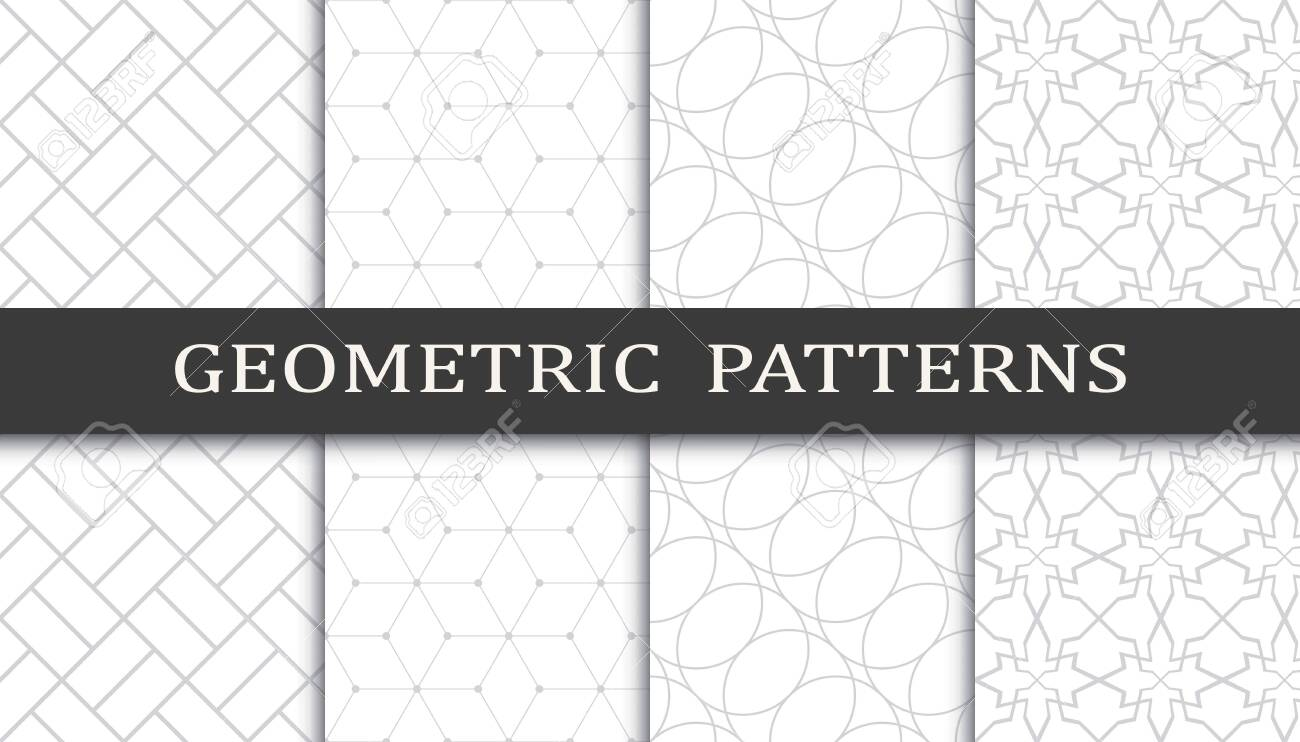 Set of geometric seamless patterns. Abstract geometric graphic design print pattern. Seamless geometric gray lines pattern. - 152490477