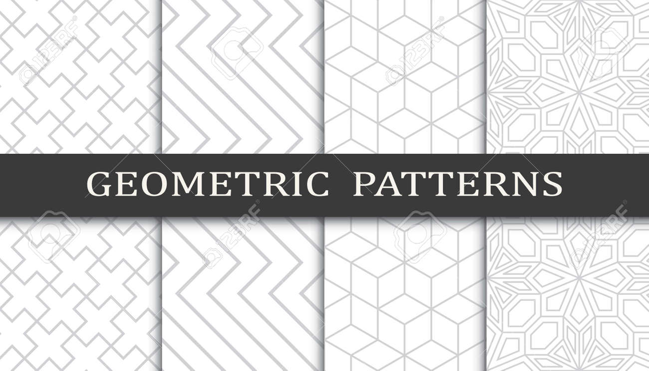 Set of geometric seamless patterns. Abstract geometric graphic design print pattern. Seamless geometric gray lines pattern. - 152490487