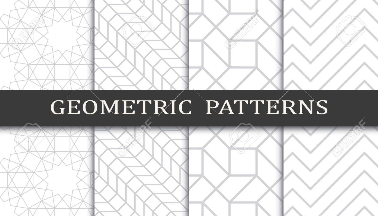 Set of geometric seamless patterns. Abstract geometric graphic design print pattern. Seamless geometric gray lines pattern. - 152490522