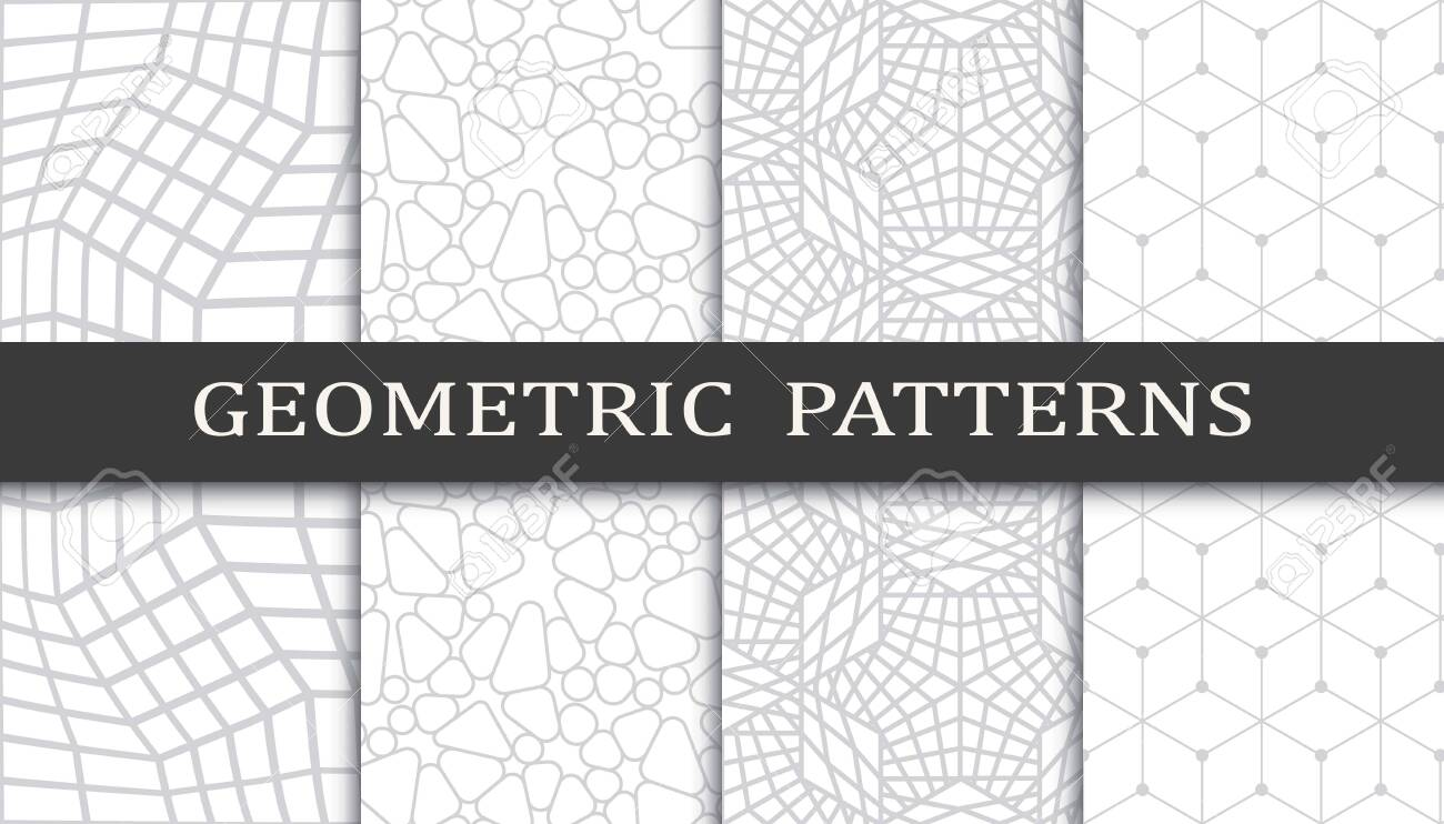 Set of geometric seamless patterns. Abstract geometric graphic design print pattern. Seamless geometric gray lines pattern. - 152490525