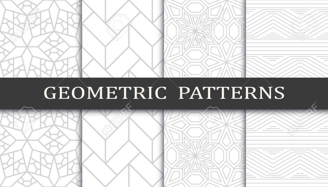 Set of geometric seamless patterns. Abstract geometric graphic design print pattern. Seamless geometric gray lines pattern. - 152490526