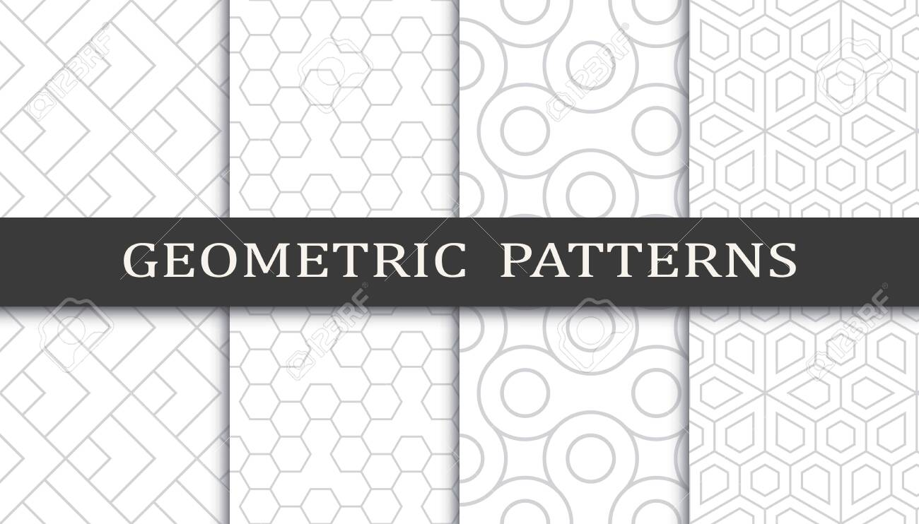 Set of geometric seamless patterns. Abstract geometric graphic design print pattern. Seamless geometric gray lines pattern. - 152490528