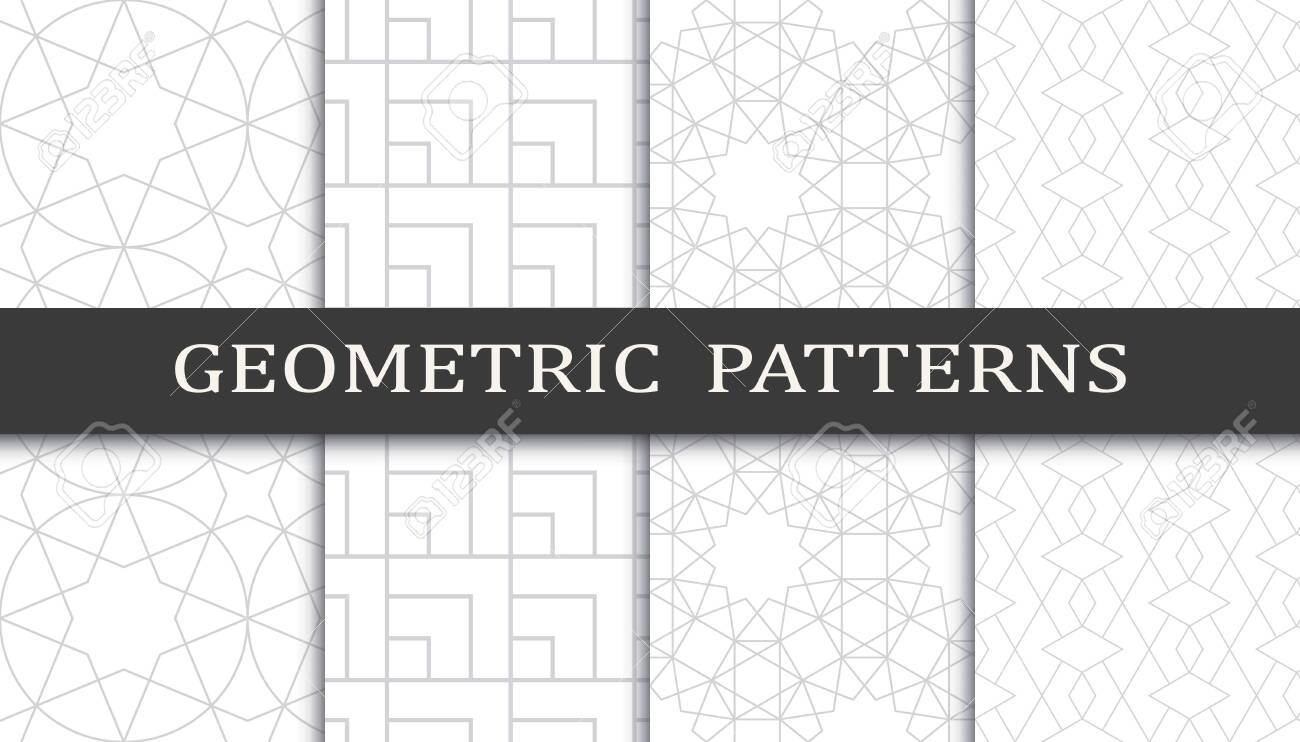 Set of geometric seamless patterns. Abstract geometric graphic design print pattern. Seamless geometric gray lines pattern. - 152490531