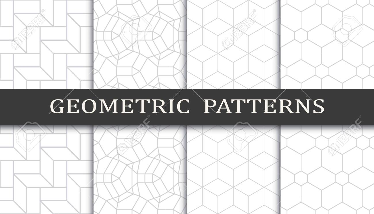 Set of geometric seamless patterns. Abstract geometric graphic design print pattern. Seamless geometric gray lines pattern. - 152490565