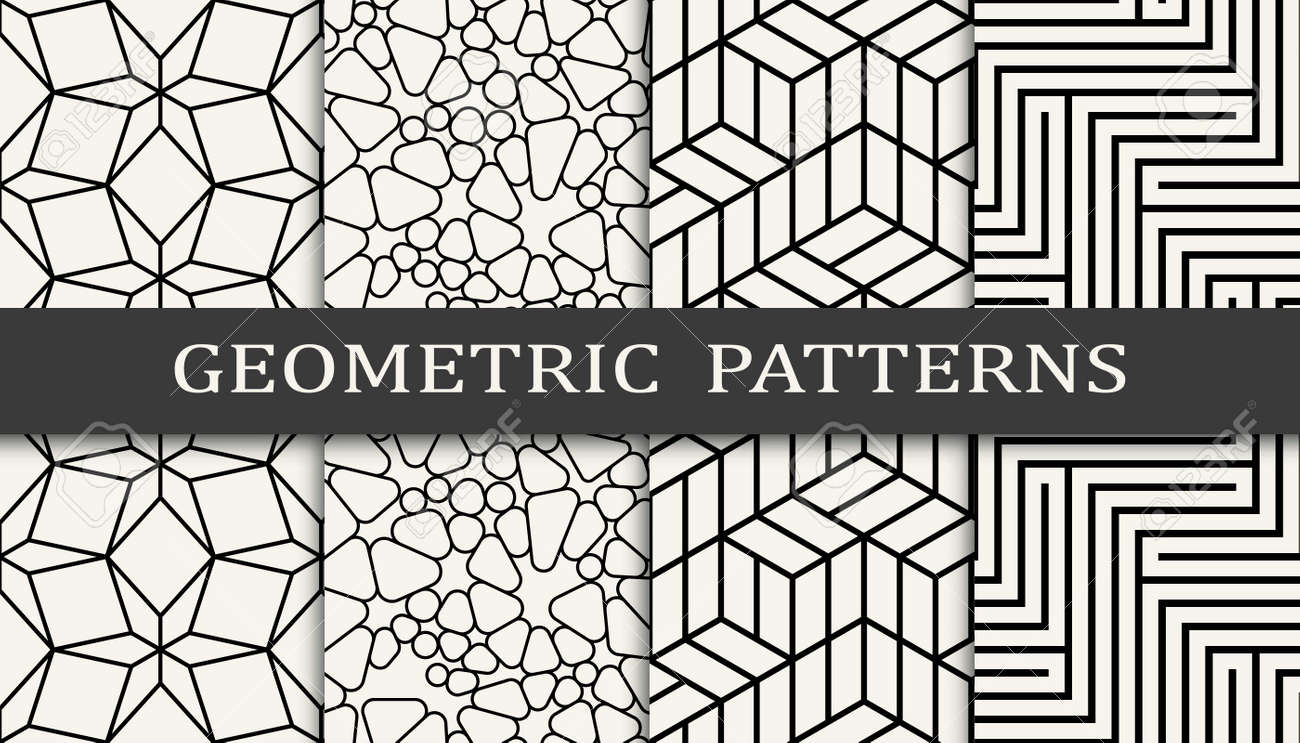 Set of geometric seamless patterns. Abstract geometric graphic design simple pattern. Seamless geometric lines pattern. - 168116995