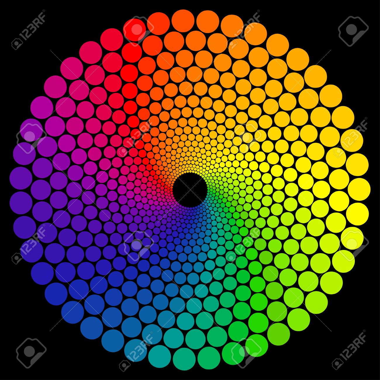 Color Wheel Or Color Circle Isolated On Black Background Royalty