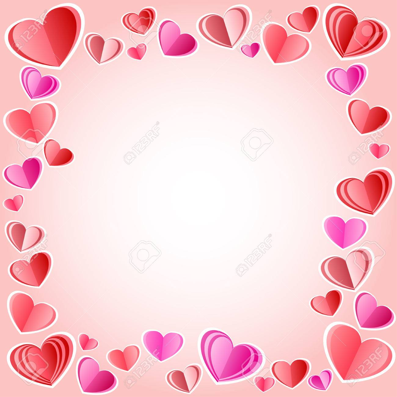 Vector Square Frame Made Of Hearts - Perfect For Valentine Day ...