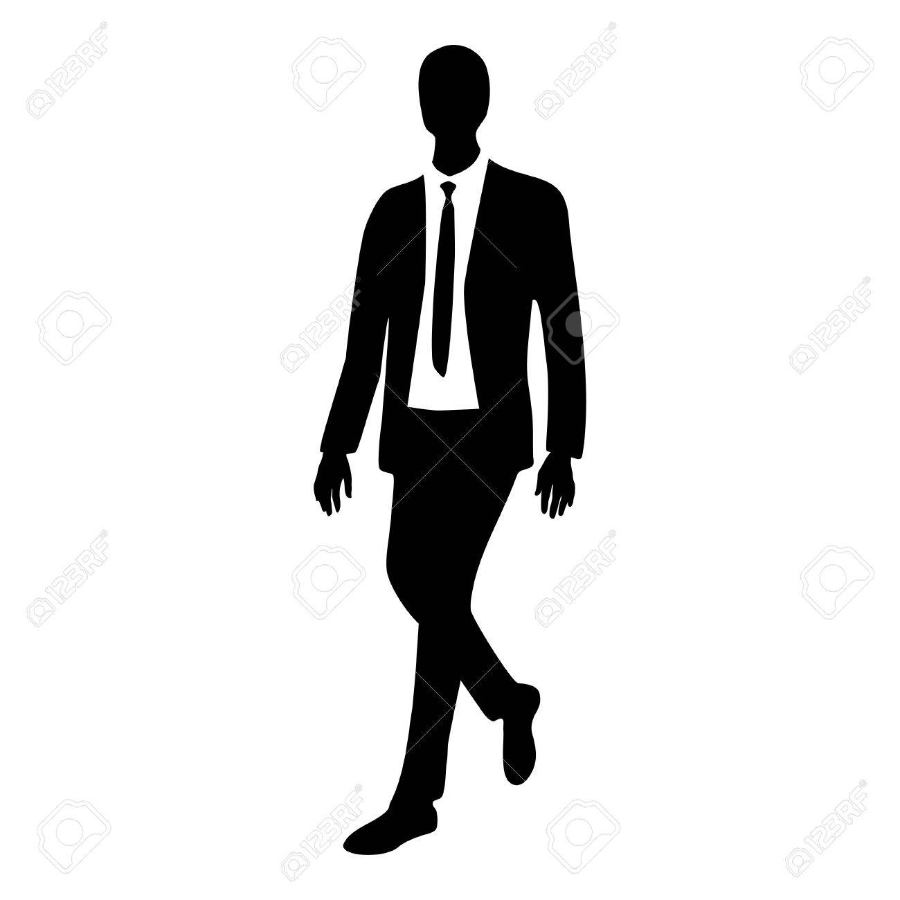 Silhouette of business man in motion illustration stock vector 55728254