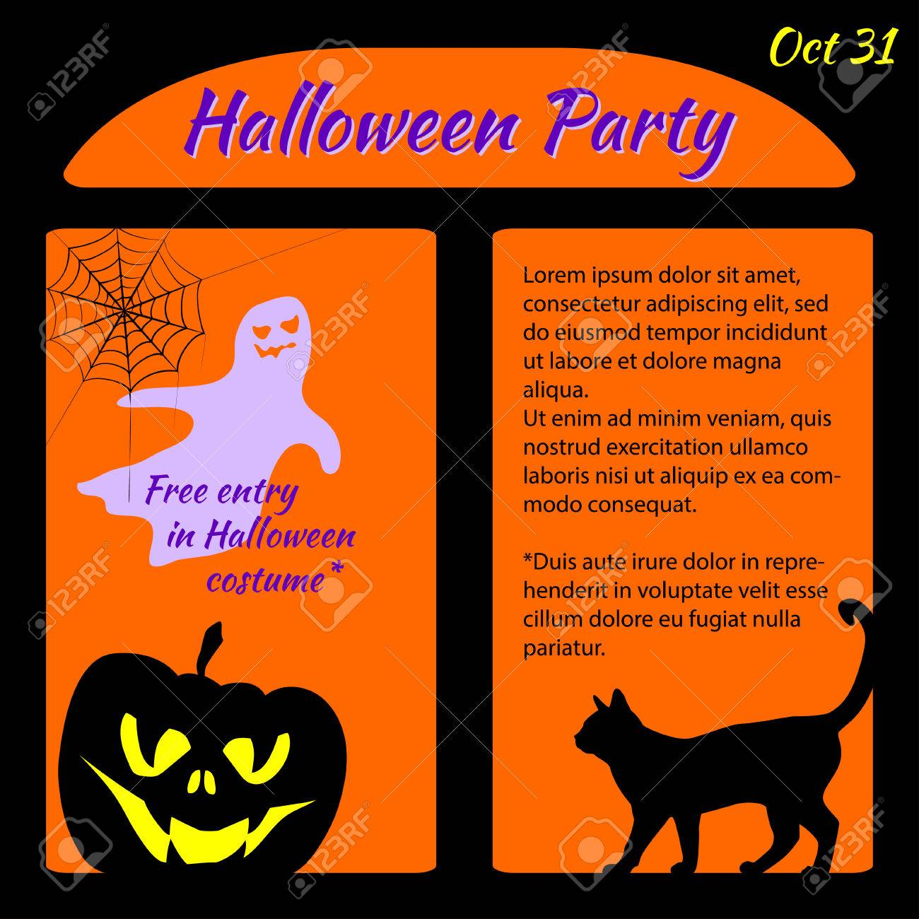 Halloween Party Template With Pumpkin, Cat, Ghost And Spider ...