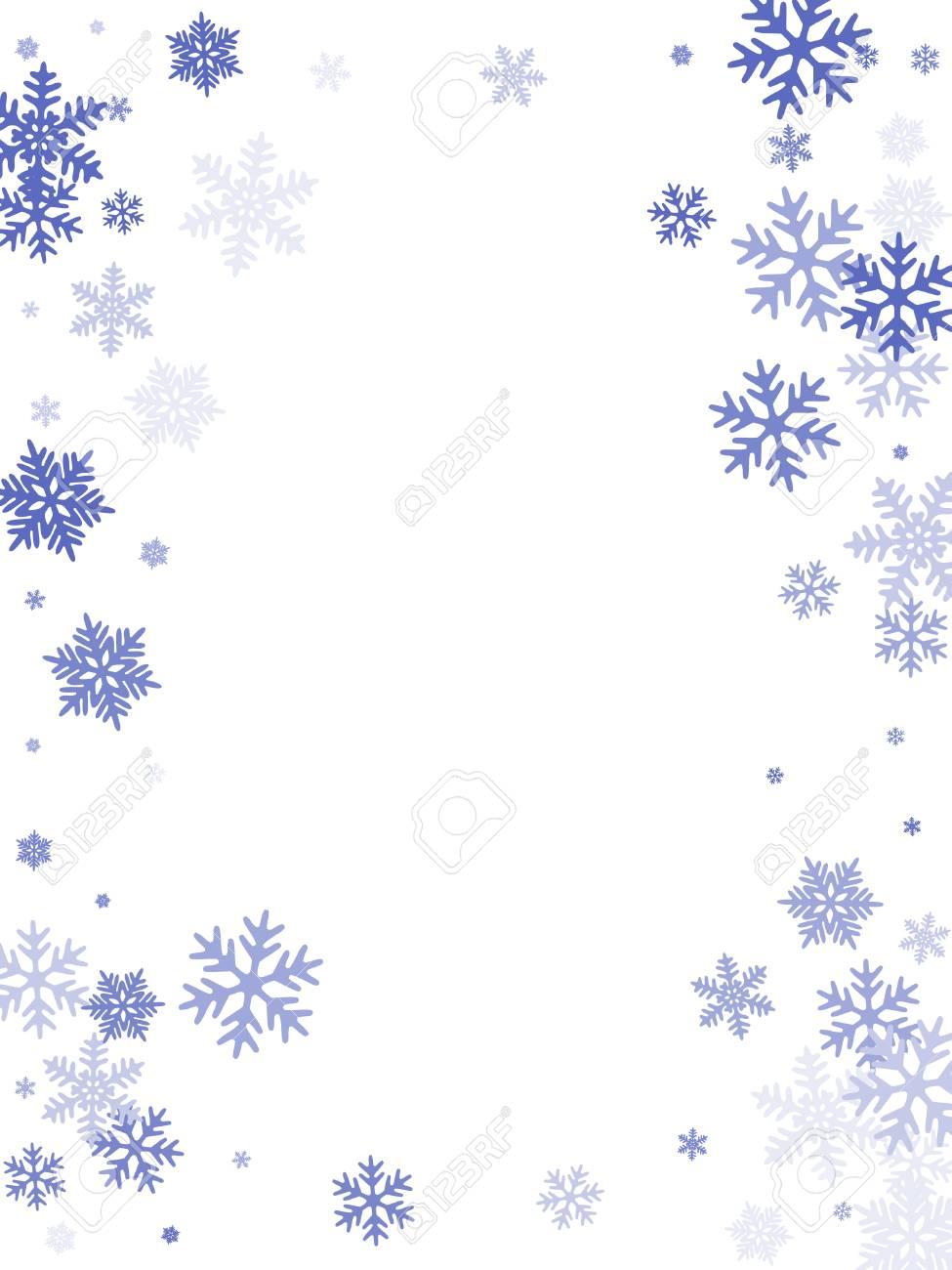 雪の冬のカード枠はフレーク落下のベクトルの背景です罫線マクロの