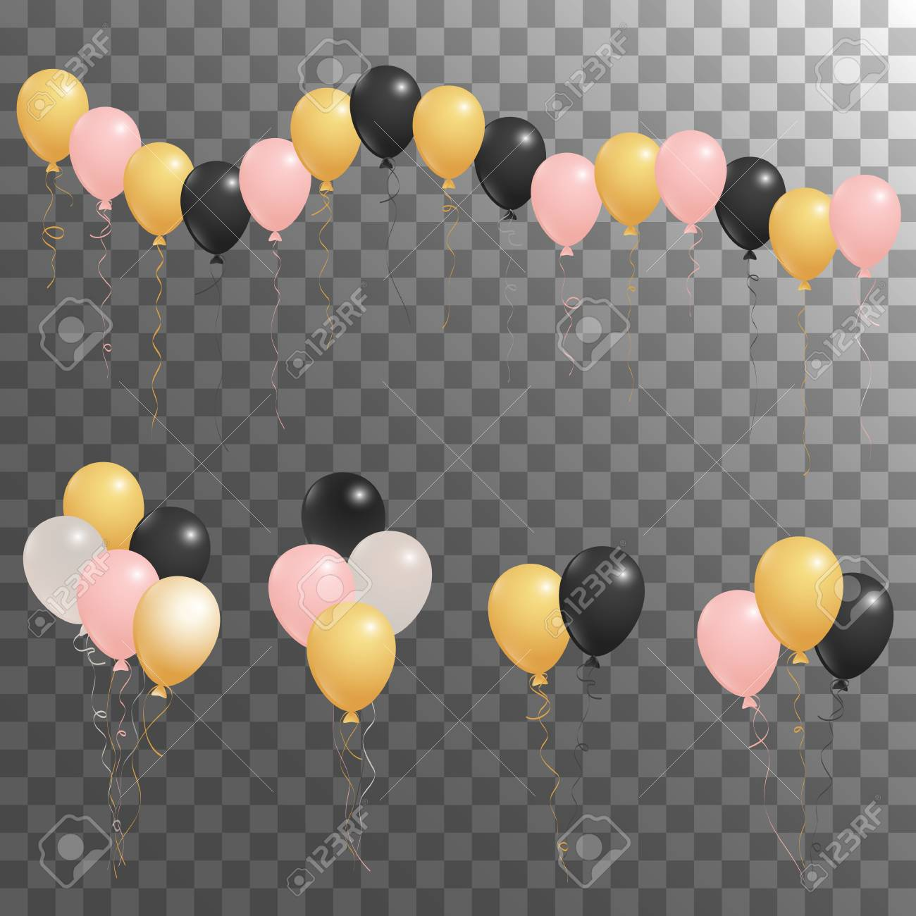 Rose Gold Pink Silver And Black Flying Balloons Isolated Vector