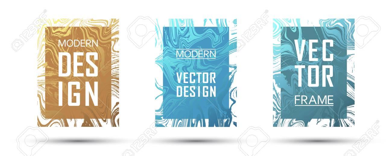 marble frame vector design set dynamic gift or business cards