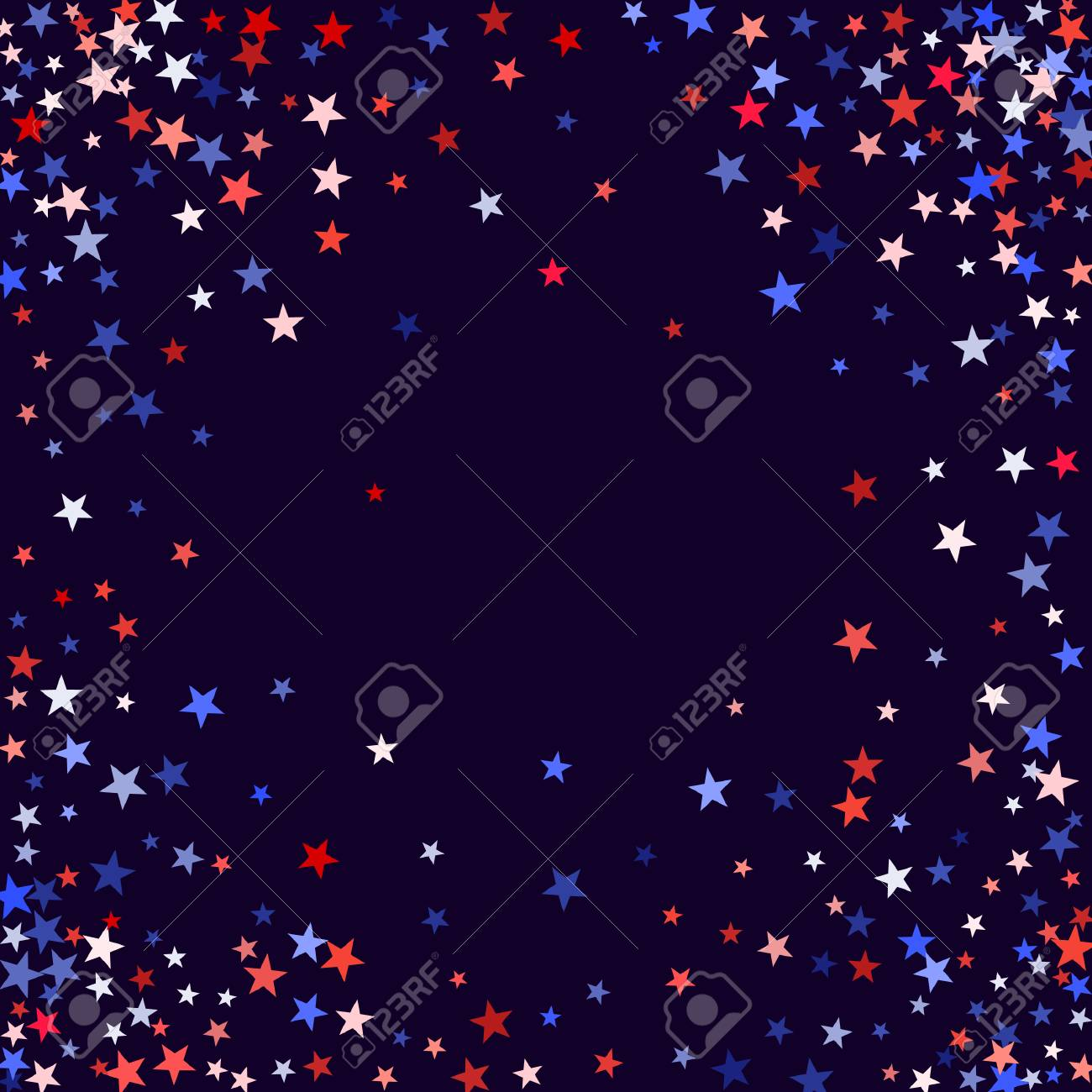 3423efacded July 4 background in United States flag colors. Red and blue stars border  frame for American Independence on President Day card. July 4