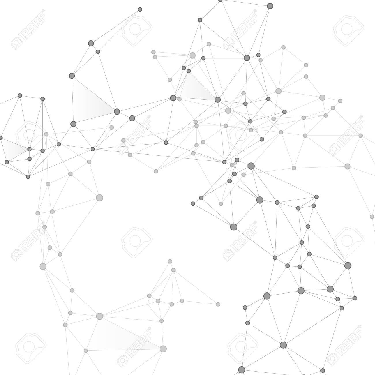 Block chain global network technology concept. Network nodes greyscale plexus background. Net grid of node points, lines matrix. Global data exchange blockchain vector. Information analytics graphics. - 121314485