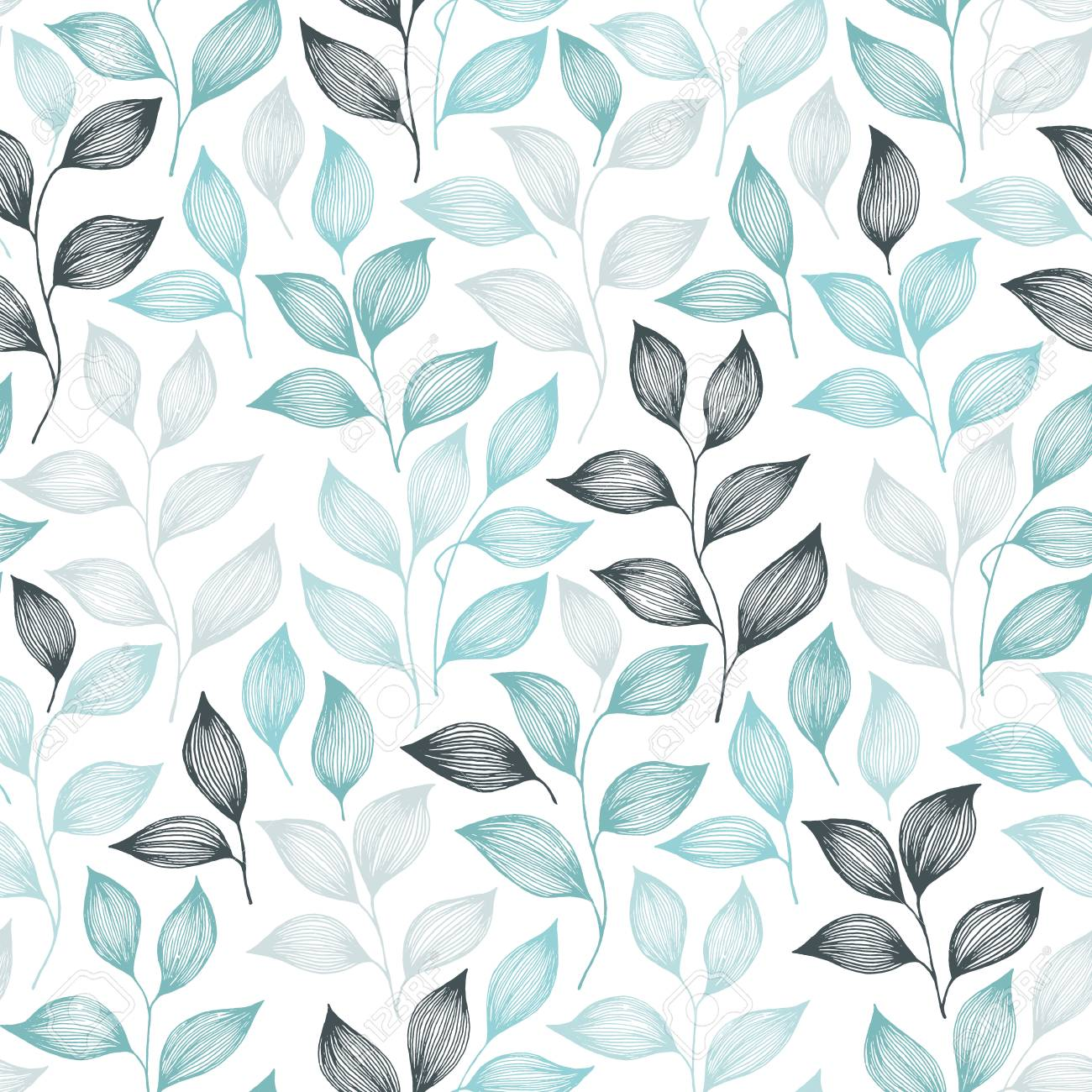 Packaging tea leaves pattern seamless vector. Minimal tea plant bush leaves floral fabric design. Herbal sketchy seamless background pattern with nature elements. Colored summer foliage wallpaper. - 123346928
