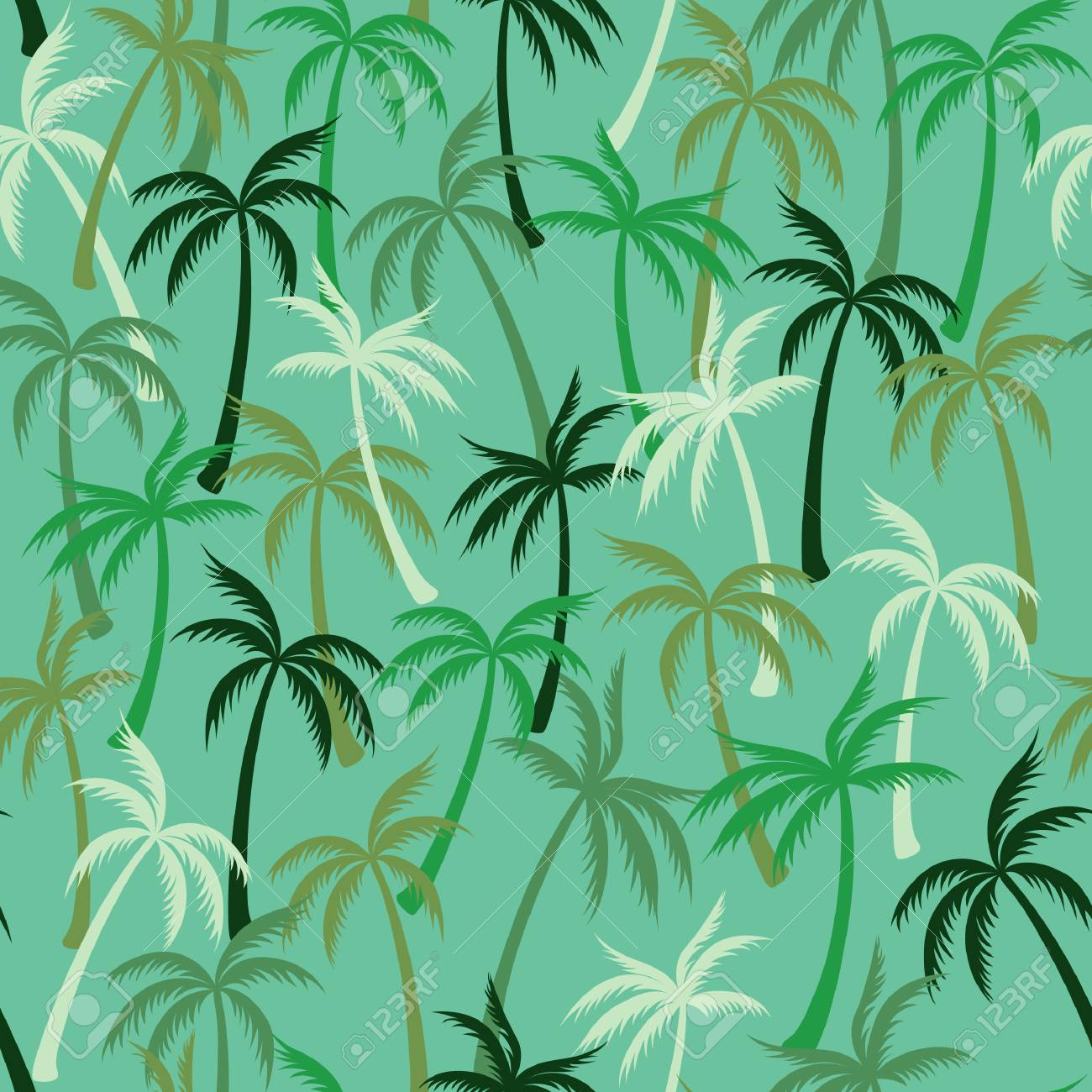 Coconut Palm Tree Pattern Textile Seamless Tropical Forest