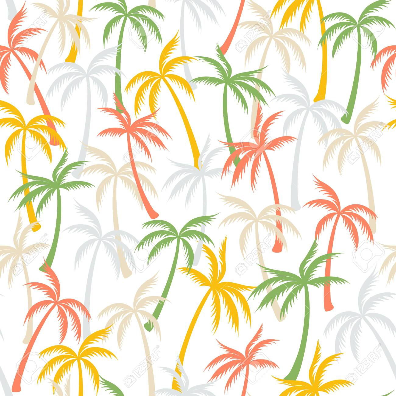 Coconut palm tree pattern textile seamless tropical forest background