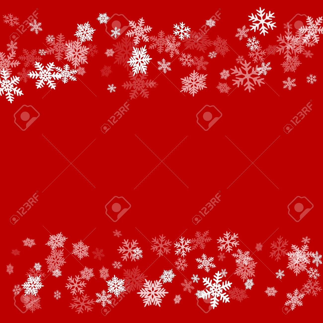 Winter snowflakes border simple vector background. Many snowflakes flying border design, holiday banner with flakes confetti scatter frame, snow elements. Cold season winter symbols. - 128567808