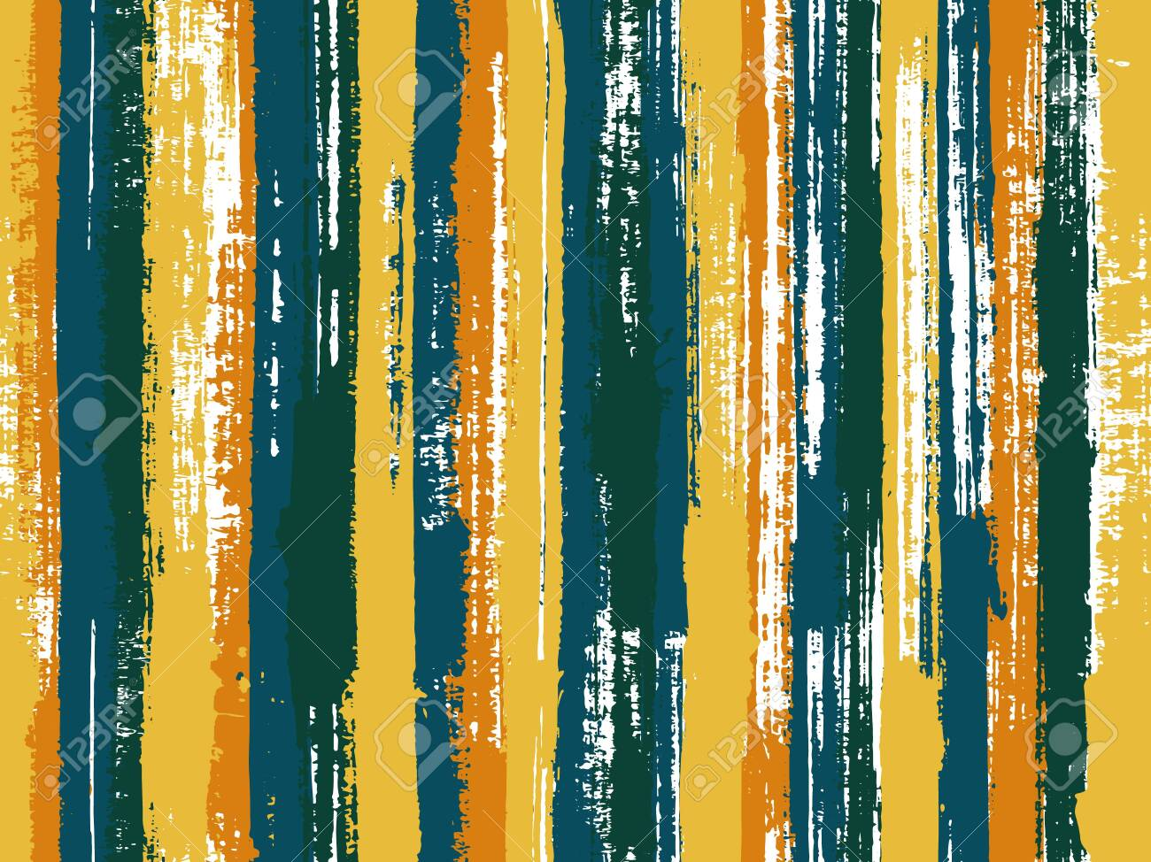 Watercolor strips seamless vector background. Multicolor ethnic sample swatch design. Old style background for poster, banner, card. Striped tablecloth textile print. - 131840971
