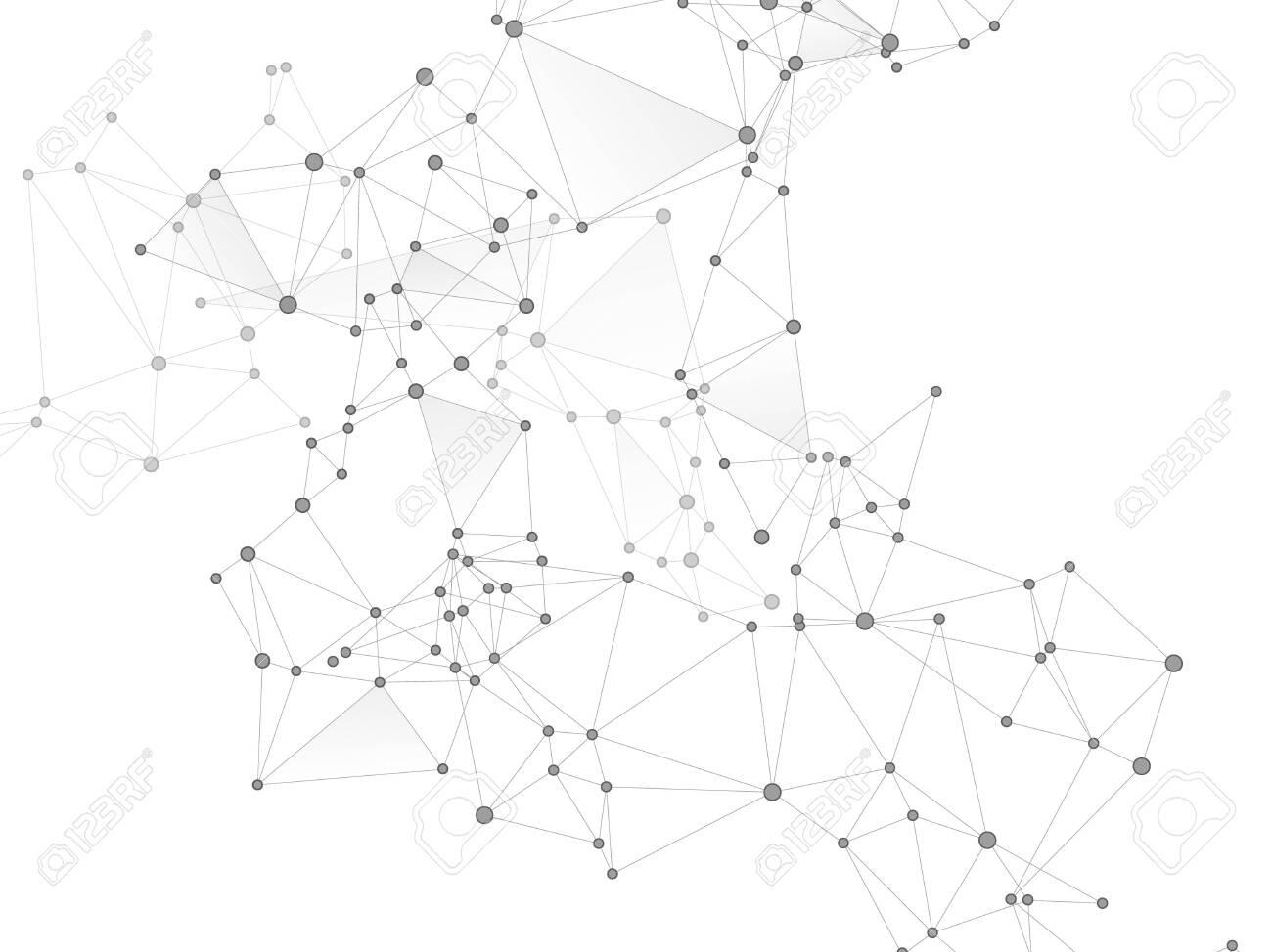 Big data cloud scientific concept. Network nodes greyscale plexus background. Information analytics graphics. Tech vector big data visualization cloud structure. Fractal hub nodes connected by lines. - 131988044
