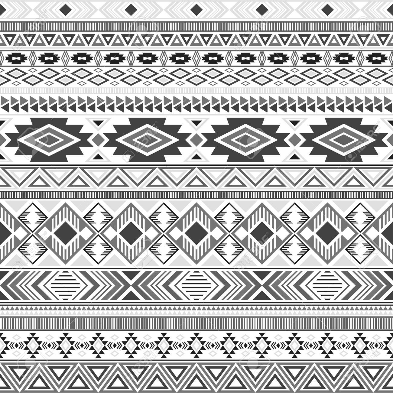 Aztec american indian pattern tribal ethnic motifs geometric vector background. Vintage native american tribal motifs clothing fabric ethnic traditional design. Mayan clothes pattern design. - 134433966