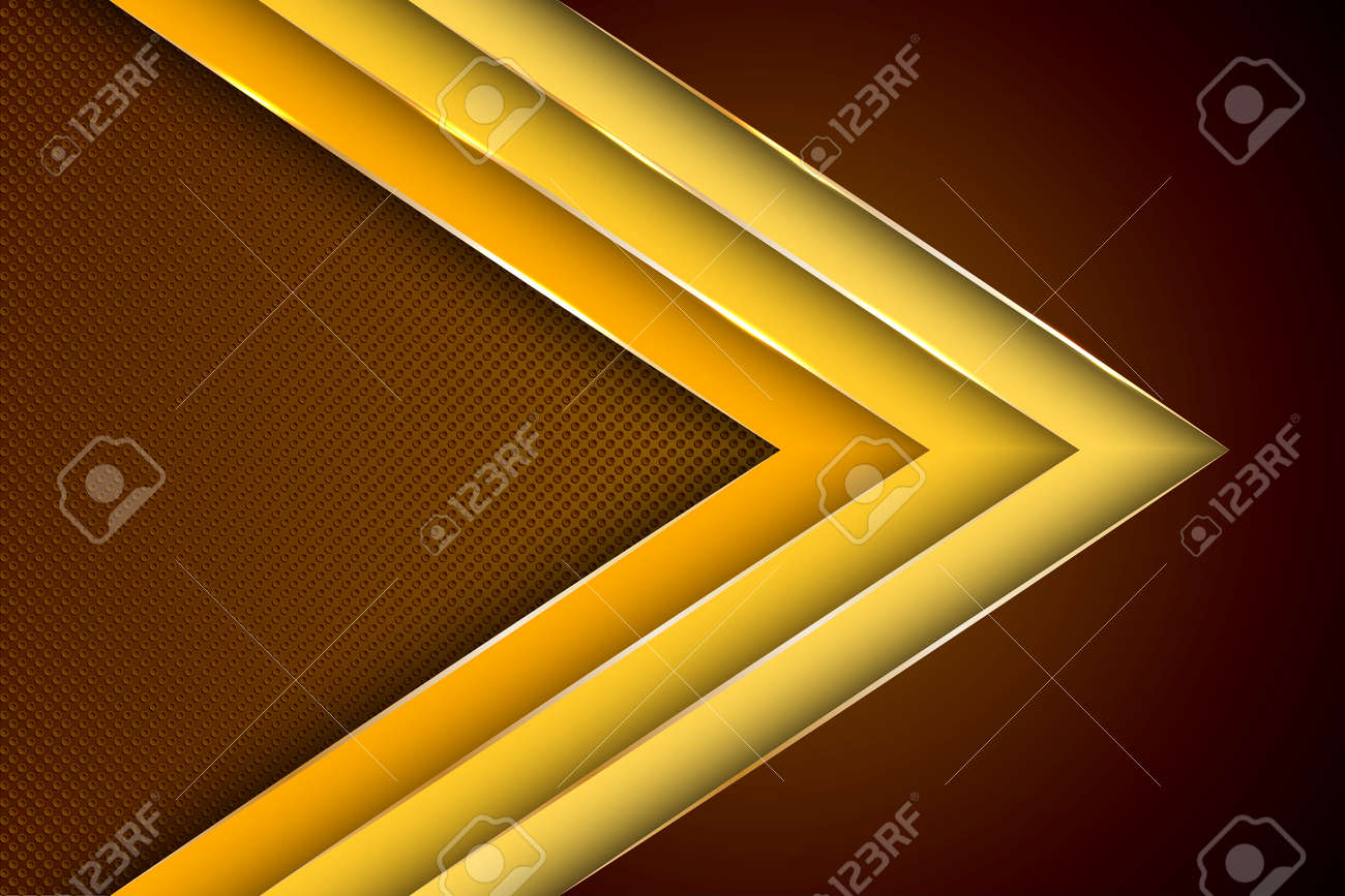 Polygonal arrow with gold triangle edge lines banner vector design. Rich business background template. Futuristic cover graphic design. Gold metallic edge lines, gradient overlapping shapes. - 157656245