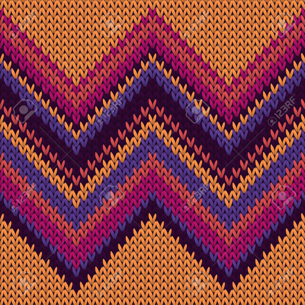 Handmade zig zal lines christmas knit geometric seamless pattern. Plaid knit tricot fabric print. Norwegian style seamless knitted pattern. Winter holidays wallpaper. - 158131718
