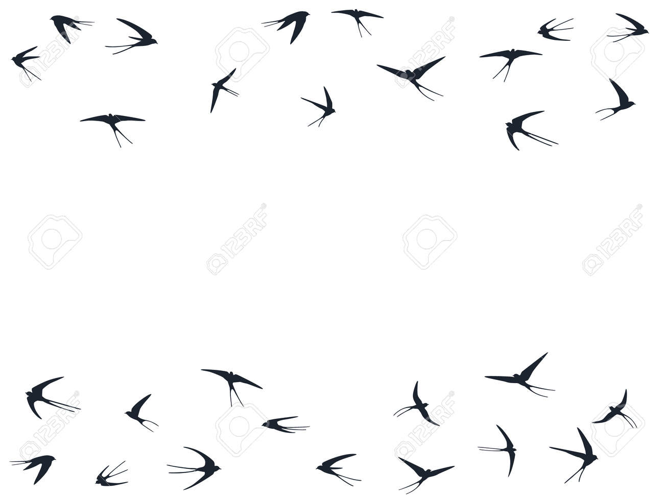 Flying martlet birds silhouettes vector illustration. Nomadic martlets school isolated on white. Winged flying swallows line art. Little birds in sky graphic design. Fauna background. - 158872932