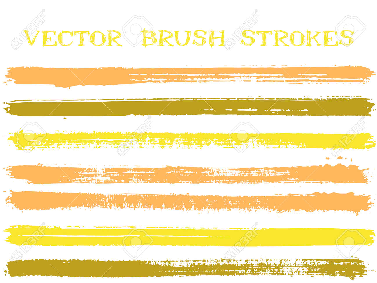 Futuristic ink brush strokes isolated design elements. Set of paint lines. Distressed Ink brushe stripes isolated on white, vector color palette samples. - 167944043