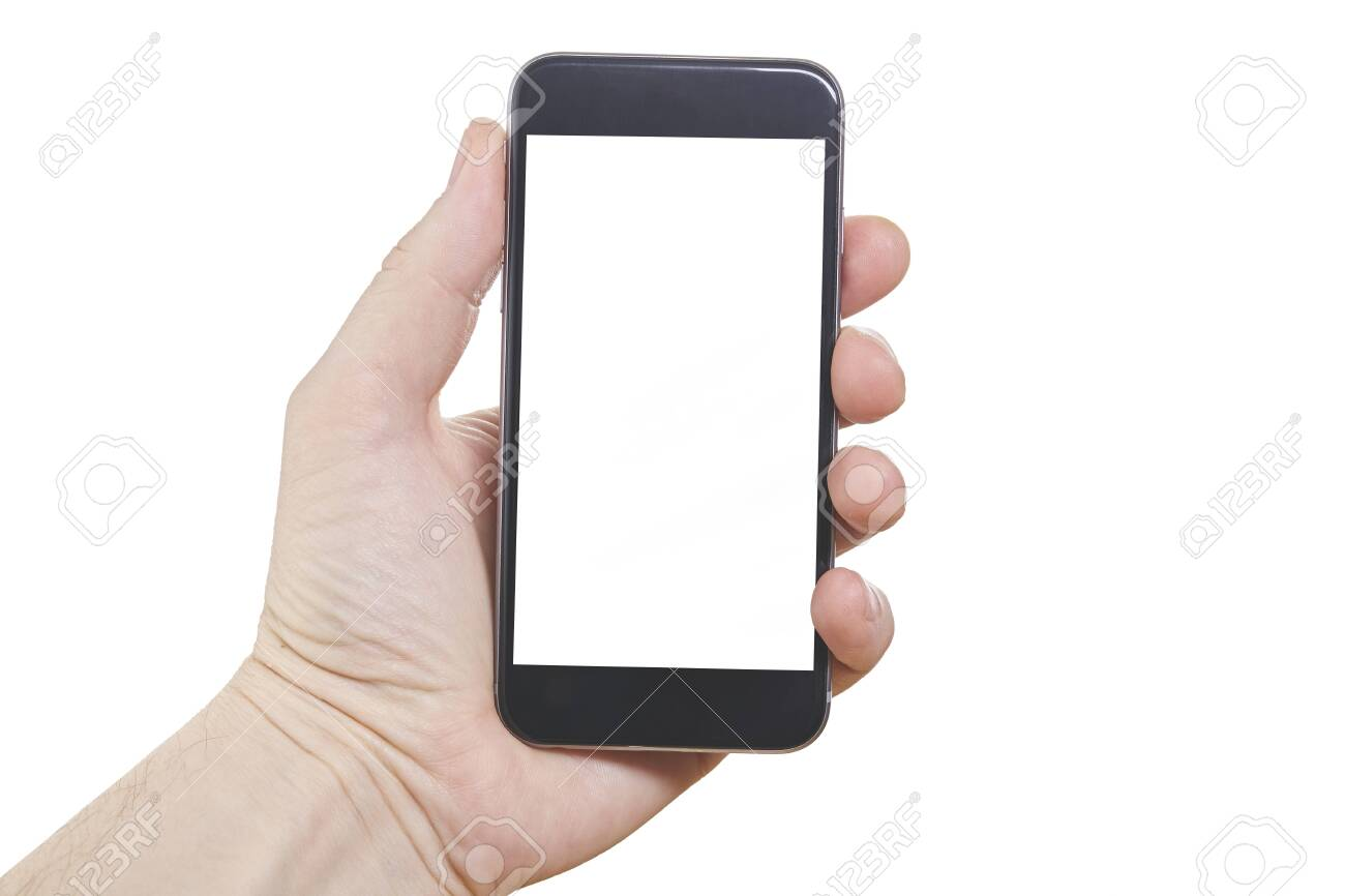 Human hand holding blank large mobile smart phone isolated on white background. - 145594114