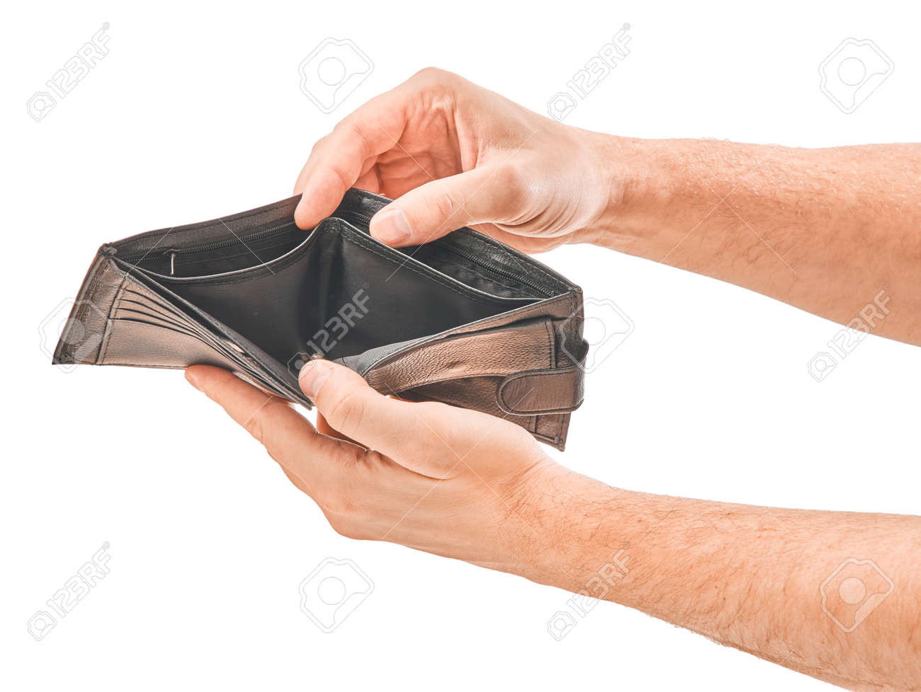 Man hand hold the wallet isolated on white background - 156472156