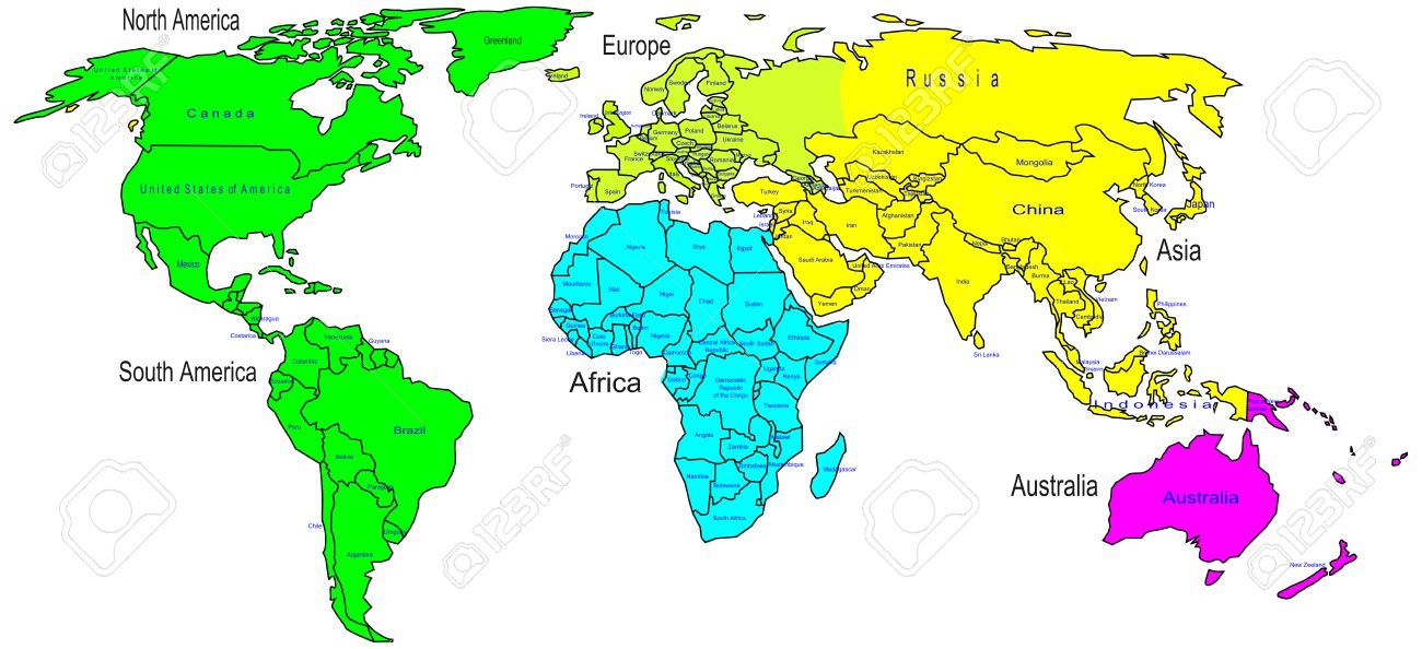 Vector   World Color Map Continents And Country Name