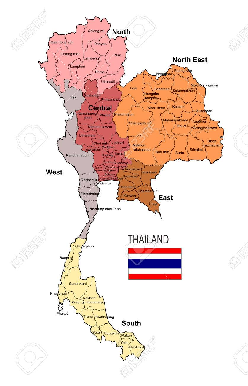 Thailand Region And Province Vector Map Royalty Free Cliparts