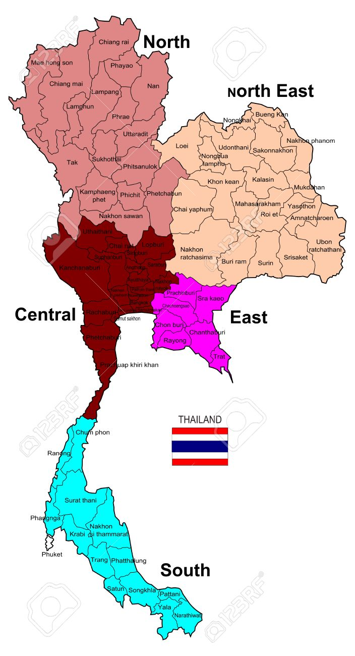 Thailand Map 5 Regions And 77 Provinces Stock Photo Picture And