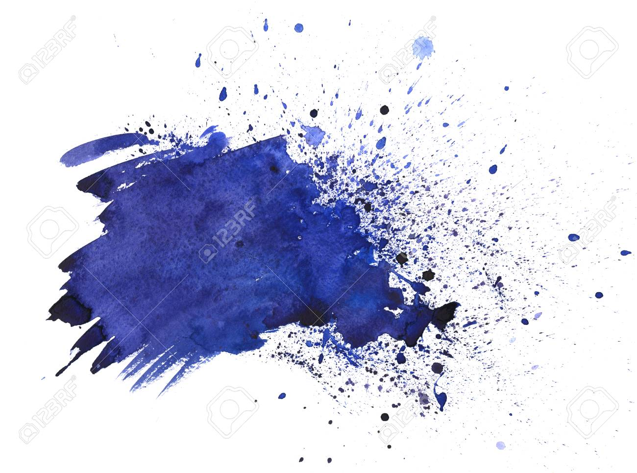Hand Drawn Watercolor Navy Blue, Indigo Texture Background Isolated.. Stock  Photo, Picture And Royalty Free Image. Image 75613318.