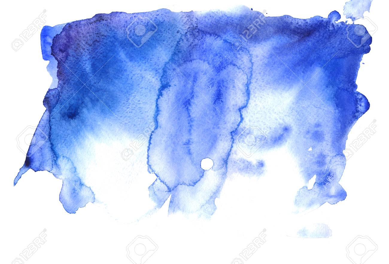 Navy Blue Indigo Watercolor Texture Background With Stains Strokes And Spots Isolated On White