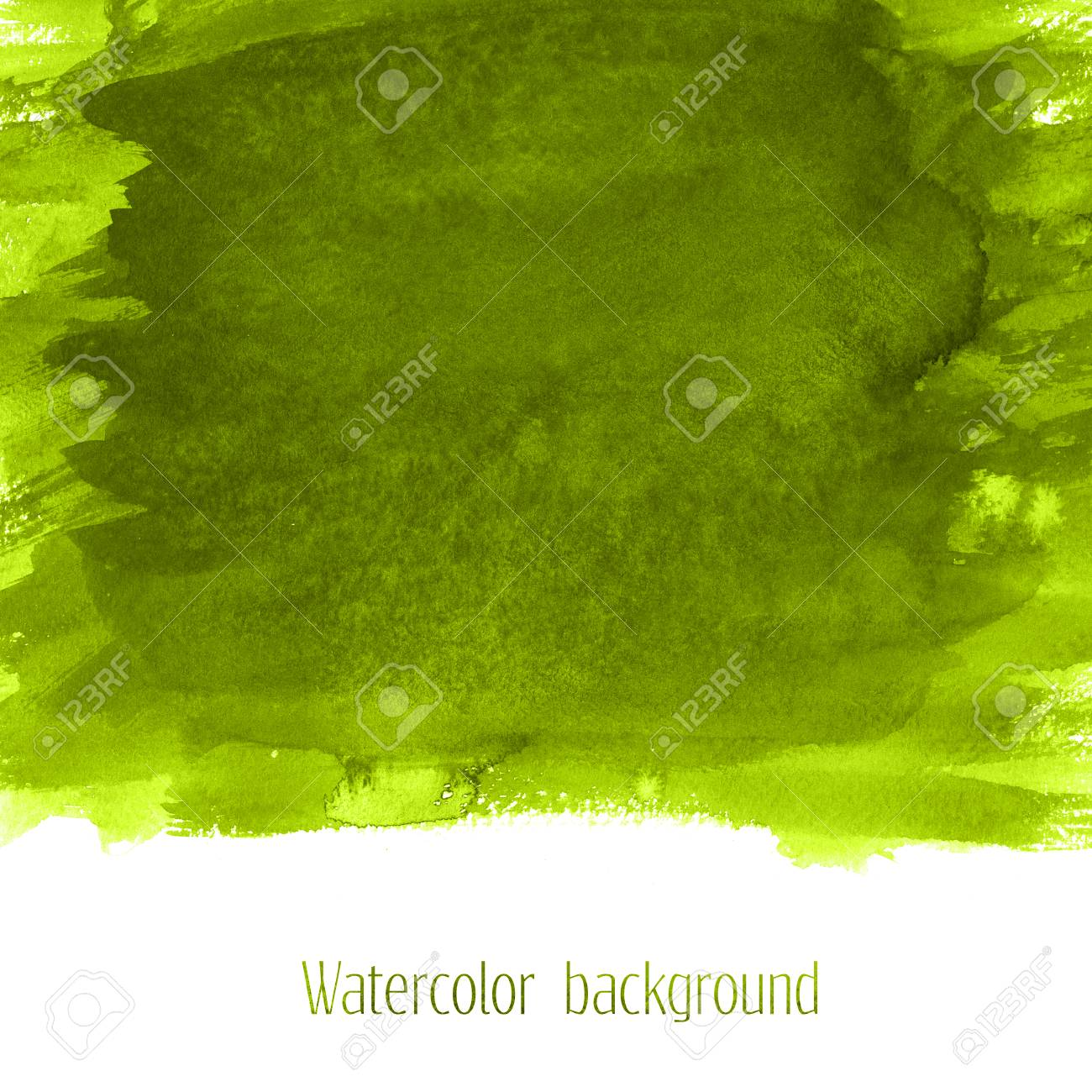 Green Grass Watercolor Texture Background With Dry Brush Stains