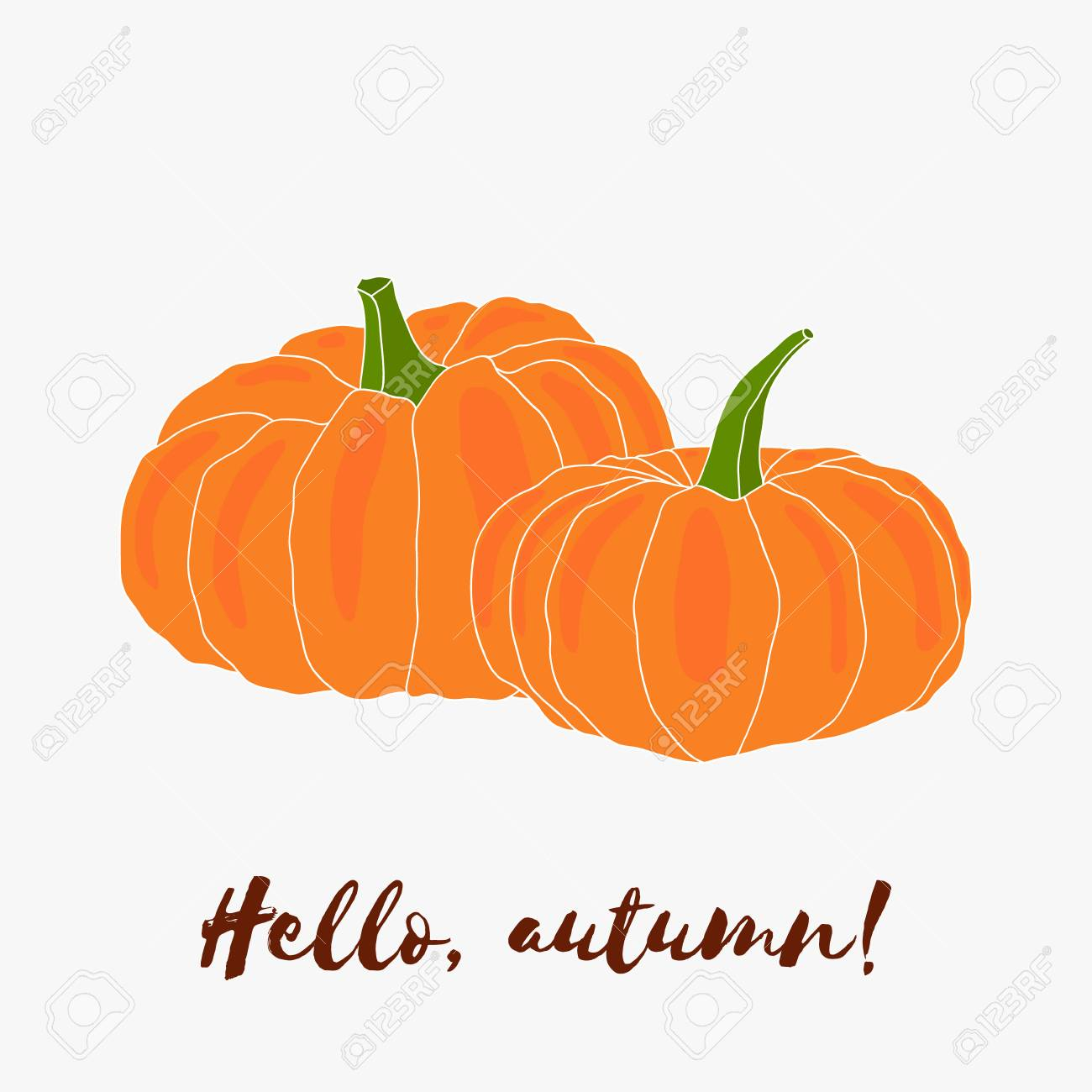 d5eb9c4551b Hello autumn! Hand drawn vector logo with lettering. Autumn halloween  decoration, vegetable harvest