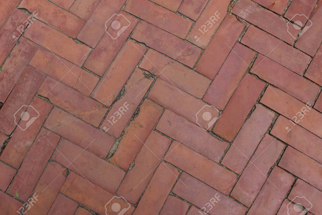 Background Of Red Brick Floor Texture Photo In Thailand Stock