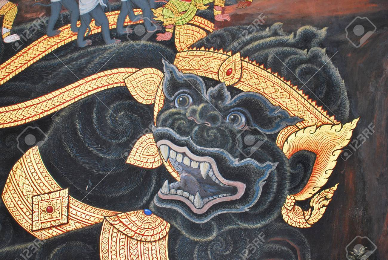 Thai Ancient Art Painting On Wall In Watprakeaw Thailand Stock ...