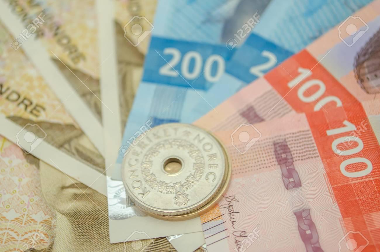 Norwegische Krone Banknoten Und Münzen Währung Von Norwegen